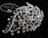 LARGE Glamour Victorian Style 70mm Silver Plated Rhinestones Crystal Brooch Pin, Bridal Bouquets, Wedding Accessories, Cake Decoration