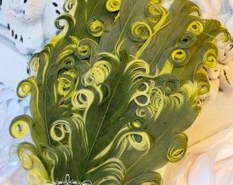 Two Tones Kiwi Green/ Lemon yellow (119) Nagorie Feather Pad - Feather Pad - Curly Feathers - Goose Feather Pad