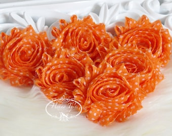 Set of 6 Shabby Frayed Vintage look Chiffon Rosette Flowers - Orange with White Polka Dots
