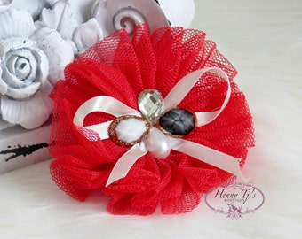 NEW to the Shop: 2 pcs Beautiful Boutique Madison Collection RED Tulle Flowers Puff Ruffled Rosette, Bow Flowers, Hair Accessories.