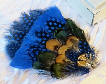 Combination Royal Blue Guinea with Lady Amherst Feathers (FPI02) RingNeck Pheasant Feather Pad - Guinea Feather Pad - Millinery