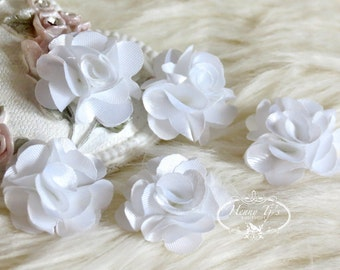 5 pcs 24mm WHITE Teeny Tiny Petite Small Puffy Satin Flowers. applique hair bow, hair accessories