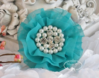 New: Reilly Collection, 2 pcs SEA GREEN Soft Chiffon Ruffled Fabric Flowers w/ Rhinestones Pearls - Layered Bouquet fabric flowers