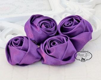 Set of 4 -  50mm Adorable Rolled Satin Rose Bud Rosettes Fabric flowers - GRAPE purple