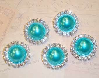 5 pcs - 20mm Silver Metal TURQUOISE Pearl (no.6) Crystal Rhinestone Buttons Embellishments w/ shank - wedding / hair / Flower Center