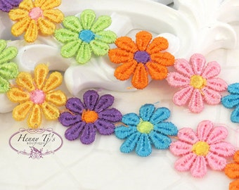 1 Yard Embroidered Colorful Rainbow Venice Lace Flower Trim scrapbooking cardmaking journal