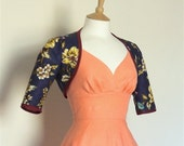 Dark Blue Wild Rose Print Bolero Jacket - Made by Dig For Victory