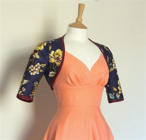 Dark Blue Wild Rose Print Bolero Jacket - Made by Dig For Victory - FREE SHIPPING worldwide