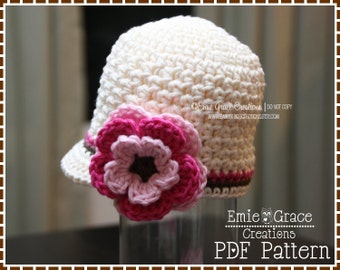 Crochet Newsboy Hat Pattern, 8 Sizes from Newborn to Adult, AVERY - pdf 228