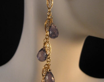 Gemstone Dangle Earrings, gemstone earrings, iolite earrings, gold earrings, dangle earrings, gemstone jewelry, drop earrings, cluster