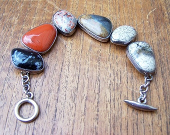 Abstract Shaped Agate & Sterling Bracelet Marked 925
