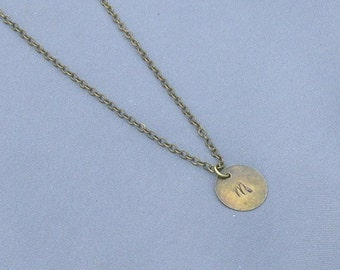 Antique Bronze Initial M Necklace