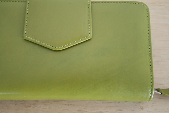 Genuine Leather Clutch wallet with Checkbook holder, Vintage