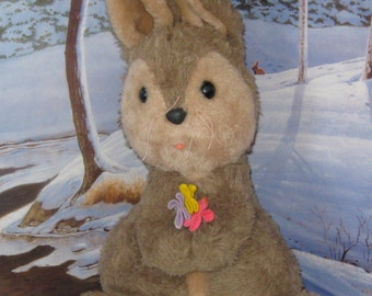 Vintage 1978 Large Gund Bunny Rabbit with boquet.Just in time for Easter.Sits up about 20 inches tall Nursery,Collectible Photo prop.