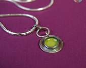 Yellow Green Vessel Necklace in Sterling Silver and Enamel.