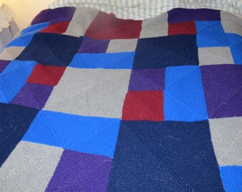 Hand Knit Rambling Rows Afghan in Dark Blue, Cranberry, Grey, Purple, and Royal Blue 25% Wool