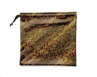 SALE Gymnastics Grip Bag or Gift Bag Shiny Gold Metallic Hologram Dots Spandex Print