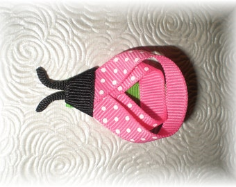 Hot Pink LADYBUG Hair Bow, Ladybug Hair Clip, Baby Bug Bow, Hair Clip - Adorable Clip for Spring and Summer