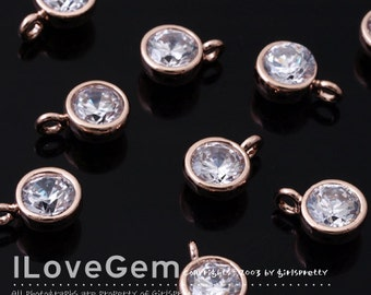 NP-1405 Rose Gold plated, 6mm CZ, dangle, 2pcs