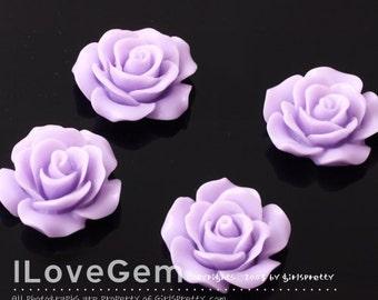 RC157-1 Resin (Lavender) Rose Flower, Cabochon, 8pcs