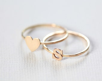 stackable initial ring, gold initial ring, heart ring - set of two dainty rings