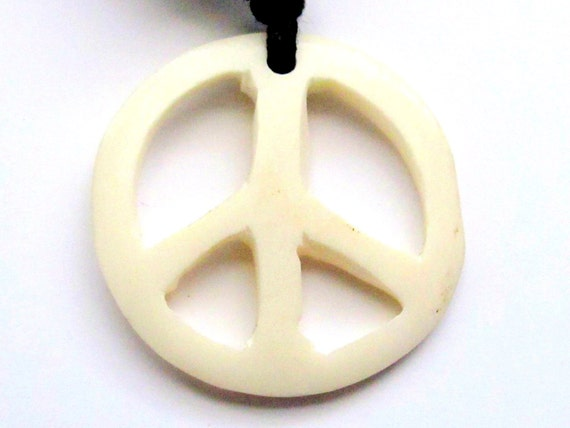 Carved Bone Peace sign pendant - PB037