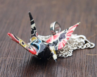 Origami Tsuru Crane Pendant Large - Retro Black, Red, Yellow and White