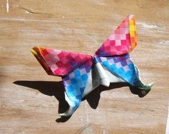 Origami Butterfly Broach - Geometric Rainbow