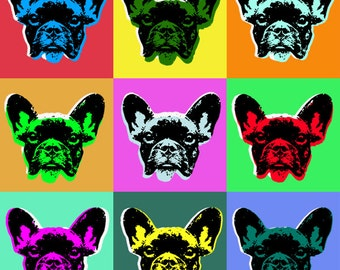 French bulldog Pop art - giclee on canvas
