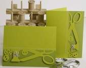 Sewing quilting themed blank greeting cards set of 4 in olive and kiwi green