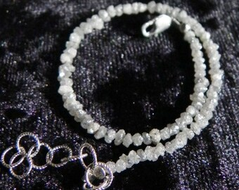 Gray Natural Genuine Diamond Chip Stackable Bracelet