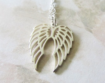Sterling Silver Necklace with Angel Wings, Minimal Collection, bridesmaid gift, bridal jewelry