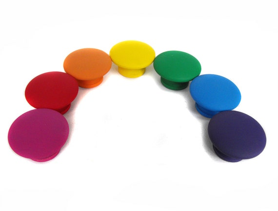 Solid Color Knob - ANY Color Children's Custom Hand Painted Drawer Knobs Pulls or Kids Nail Covers - Red Orange Yellow Green Blue Purple