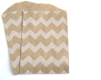 Mini Chevron Kraft Favor bags / Party favor bags / Chevron Bakery Bags (20)