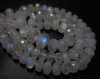 255 / Ctw - 17 inches Full strand Neckless - Gorgeous Rainbow MOONSTONE - Micro Faceted Rondell Beads huge size - 7 - 12 mm