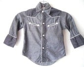 1950s Little Boys Vintage Pearl Snap Western Grey Shirt 2T