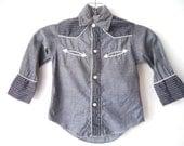 1950s Little Boys Vintage Pearl Snap Western Grey Shirt 2T
