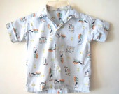 vintage Little Boys 1950s Novelty Print Loop Collar Rockabilly Shirt 6