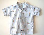 vintage Little Boys 1950s Novelty Print Loop Collar Rockabilly Shirt 6