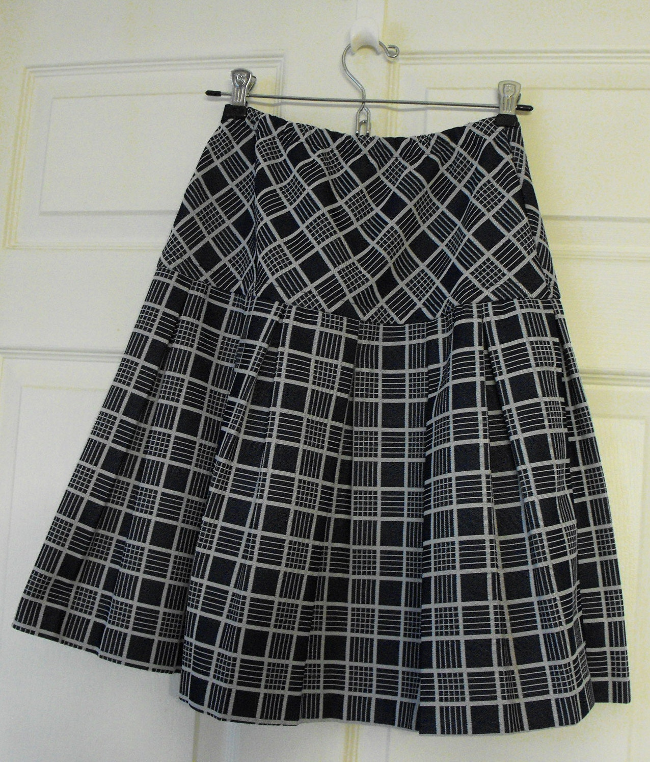 plaid pleated skirt blue mini vintage 70s 60s mod xs s