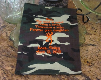Father of the Bride - Camouflage - Embroidered - Wedding Handkerchief - Deer Antlers - Wedding Gift - Simply Sweet Hankies