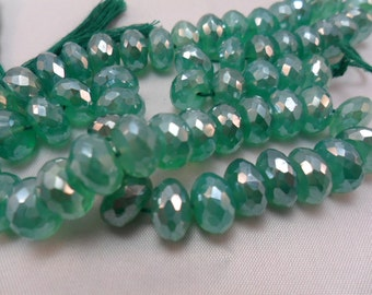 Gemstone Bead, Green Onyx, Diamond Coated, Fat Faceted Rondelle, Large Beads, 10x4mm   10pcs