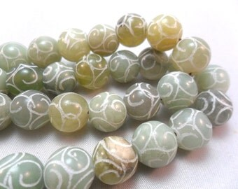 Gemstone Bead, Acid Etched Green Jade, Round Large Pale Green Bead  12-14mm 10pcs