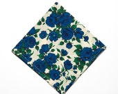Pomp & Ceremony Pocket Square handkerchief Liberty of London Carline blue rose