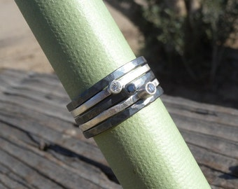 Zebra Stacking Ring Set with White Diamonds and a Black Diamond in Sterling Silver Sz 7