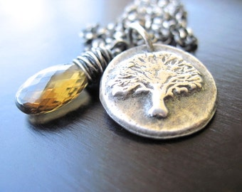 Cognac Quartz Necklace, Oxidized Fine Silver Tree of Life