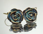 Rose earrings, Blue Green Patina, Dangle Earrings,
