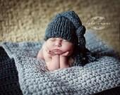 Chunky Baby Blanket Gray Photo Prop  Newborn Baby Photography Prop Hand Crochet