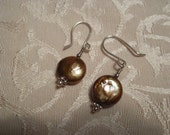 Bronze Freshwater Coin Pearl Earring
