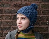 Hand Knit Aviator Style Pom- Pom Helmet Hat